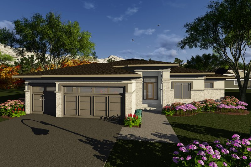 Prairie Style House Plan - 2 Beds 2.5 Baths 1850 Sq/Ft Plan #70-1268 Exterior - Front Elevation