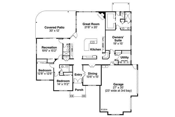 Traditional Floor Plan - Main Floor Plan Plan #124-970