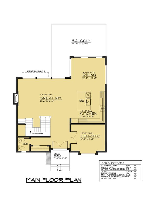 Modern Floor Plan - Main Floor Plan Plan #1066-67