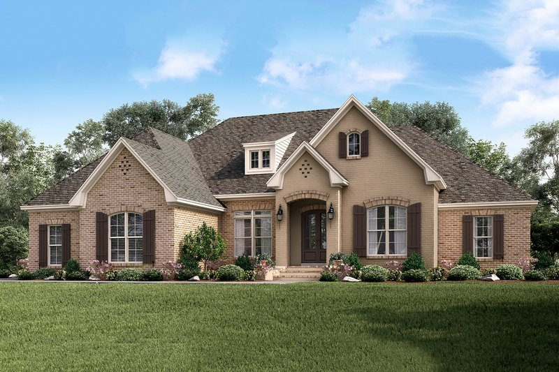 European Style House Plan - 4 Beds 2.5 Baths 2506 Sq/Ft Plan #430-143 Exterior - Front Elevation