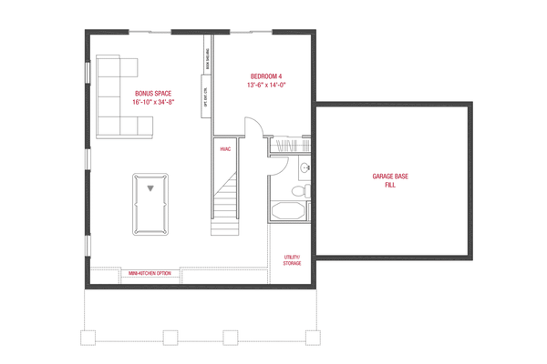 Craftsman Floor Plan - Lower Floor Plan #1079-2