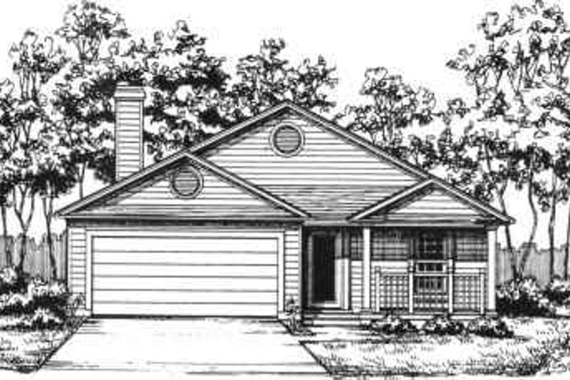 Ranch Style House Plan - 2 Beds 2 Baths 1372 Sq/Ft Plan #30-132 Exterior - Front Elevation