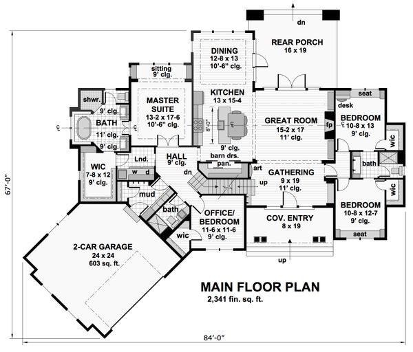 Craftsman Floor Plan - Main Floor Plan #51-573