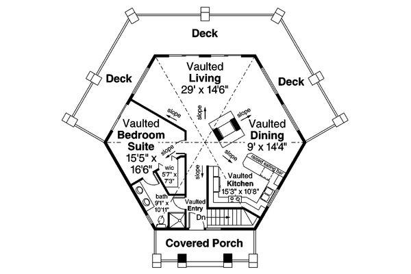 Architectural House Design - Prairie Floor Plan - Main Floor Plan #124-1143