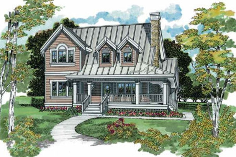 Farmhouse Style House Plan - 3 Beds 2 Baths 1583 Sq/Ft Plan #47-384 Exterior - Front Elevation