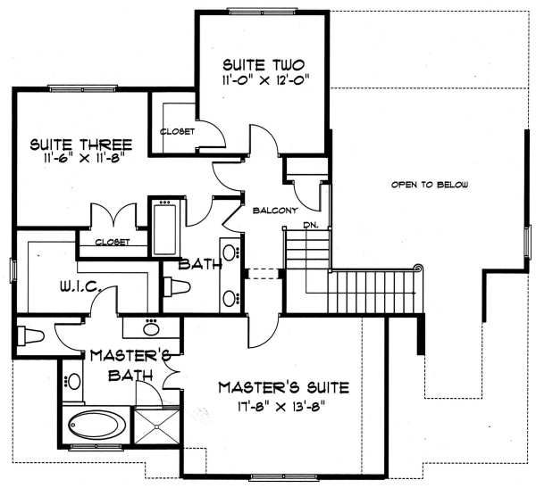 Tudor Floor Plan - Upper Floor Plan Plan #413-135