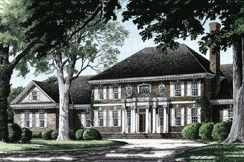 Home Plan - Front view - 5800 square foot Southern home