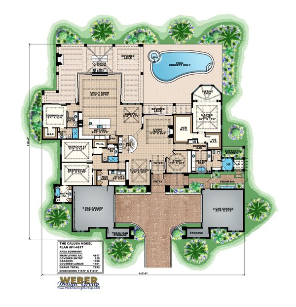 Mediterranean Floor Plan - Main Floor Plan Plan #27-560
