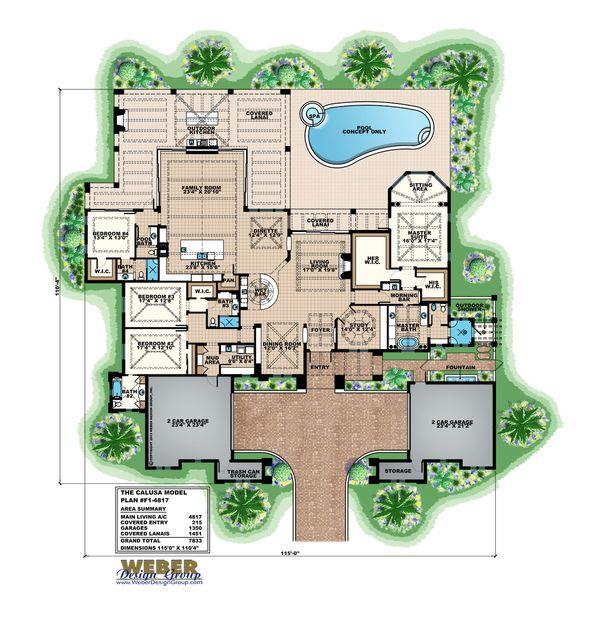 Mediterranean Floor Plan - Main Floor Plan Plan #27-560