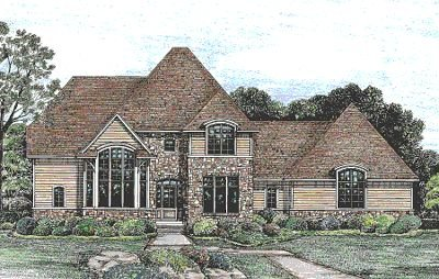 European Exterior - Front Elevation Plan #20-261