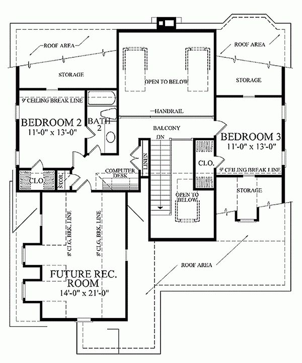 Southern Floor Plan - Upper Floor Plan #137-293