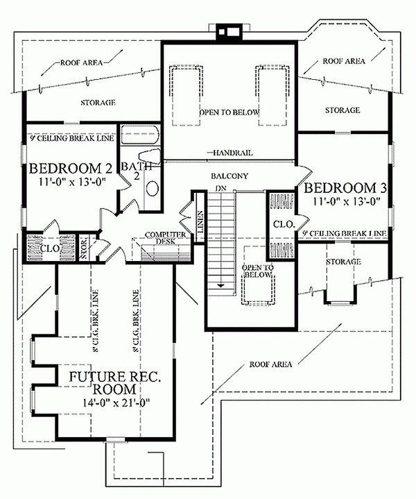 Home Plan - Southern Floor Plan - Upper Floor Plan #137-293