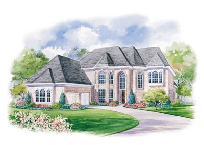 European Style House Plan - 3 Beds 3.5 Baths 3397 Sq/Ft Plan #20-1122 Exterior - Front Elevation
