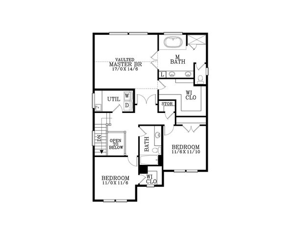 Craftsman Floor Plan - Upper Floor Plan Plan #53-585