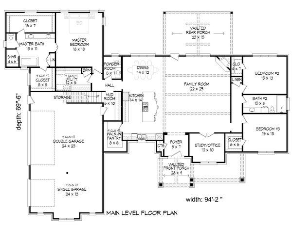 Country Floor Plan - Main Floor Plan Plan #932-289