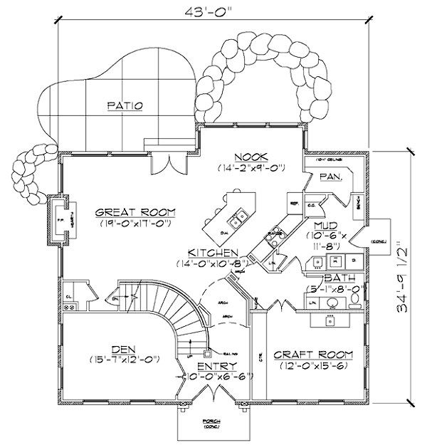 European Floor Plan - Main Floor Plan Plan #5-373