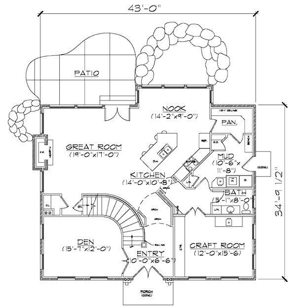 European Floor Plan - Main Floor Plan Plan #5-373