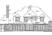 European Style House Plan - 4 Beds 3.5 Baths 3294 Sq/Ft Plan #310-498 Exterior - Rear Elevation