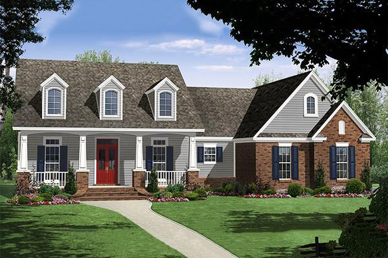Country Style House Plan - 3 Beds 2 Baths 1619 Sq/Ft Plan #21-352 Exterior - Front Elevation