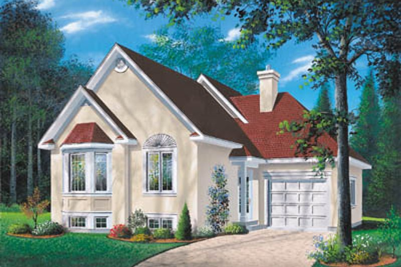 European Style House Plan - 2 Beds 1 Baths 1018 Sq/Ft Plan #23-150 Exterior - Front Elevation