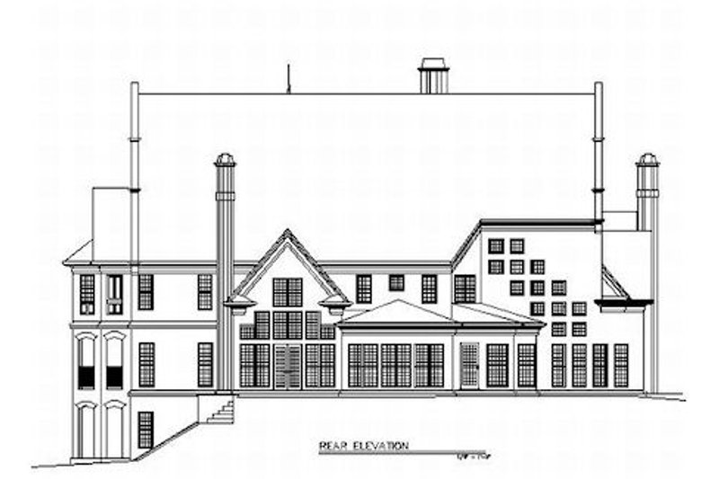 European Exterior - Rear Elevation Plan #119-201 - Houseplans.com