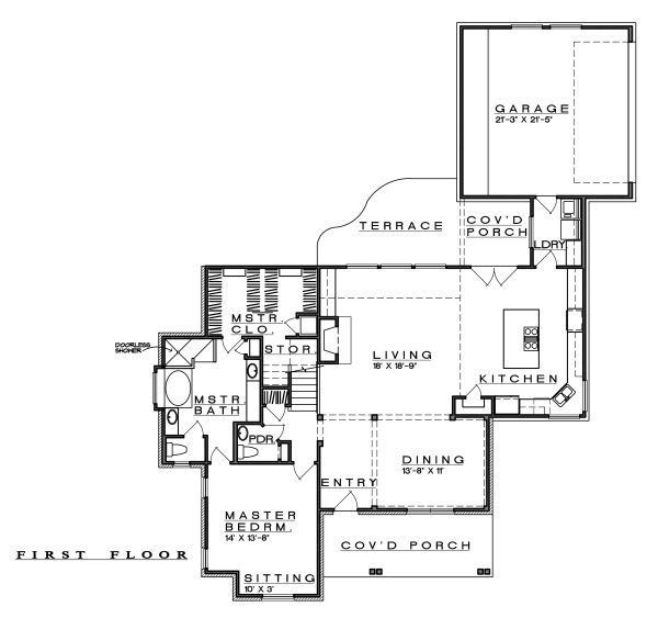 Farmhouse Floor Plan - Main Floor Plan Plan #935-19