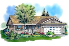 Ranch Exterior - Front Elevation Plan #18-1001