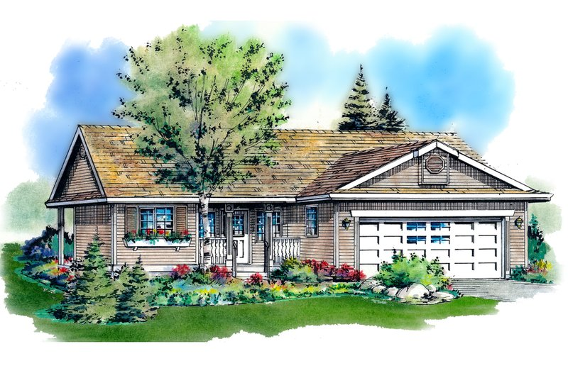 House Blueprint - Ranch Exterior - Front Elevation Plan #18-1001