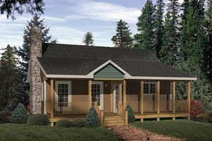 House Design - Cabin Exterior - Front Elevation Plan #22-116