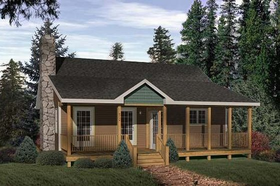 Cabin Exterior - Front Elevation Plan #22-116