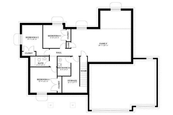 Traditional Floor Plan - Lower Floor Plan #1060-56