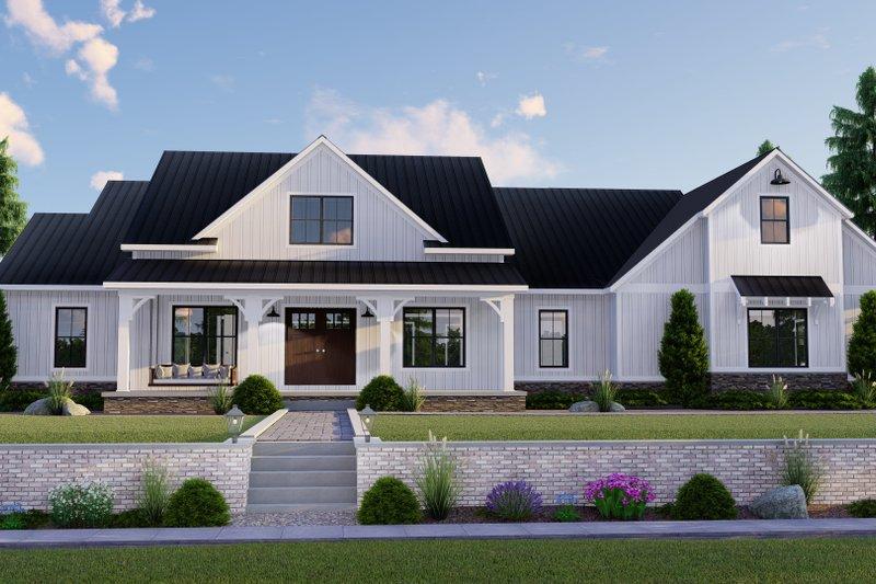 House Blueprint - Farmhouse Exterior - Front Elevation Plan #1064-122