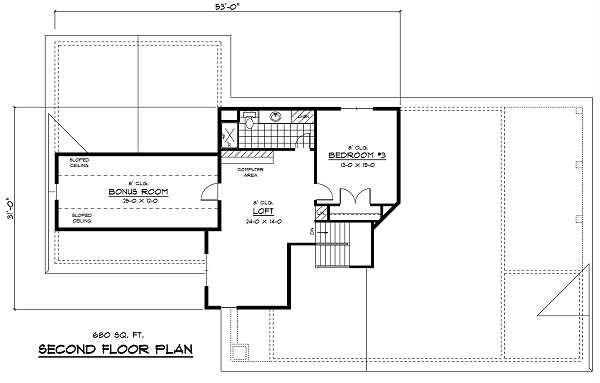 European Floor Plan - Upper Floor Plan Plan #51-256
