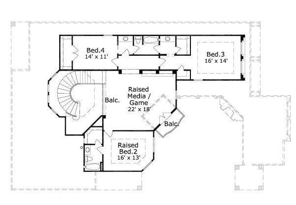 European Floor Plan - Upper Floor Plan Plan #411-260