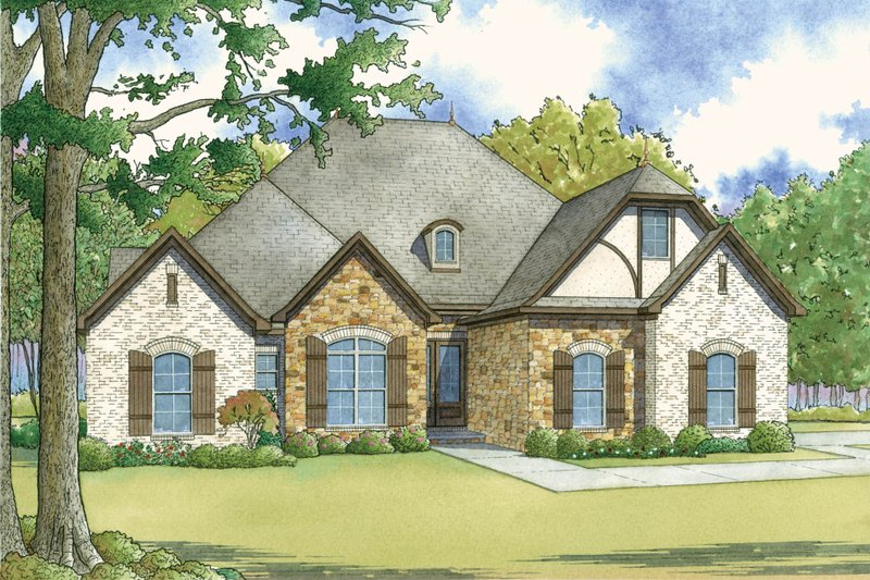 European Style House Plan - 4 Beds 3 Baths 2071 Sq/Ft Plan #923-28 Exterior - Front Elevation