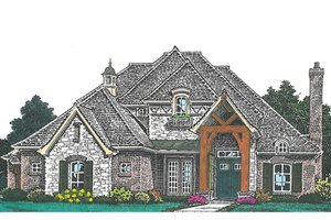European Exterior - Front Elevation Plan #310-992