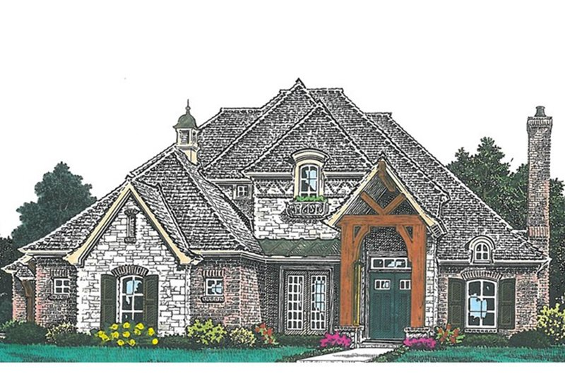 European Exterior - Front Elevation Plan #310-992 - Houseplans.com