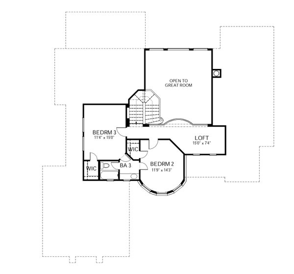 Dream House Plan - European Floor Plan - Upper Floor Plan #80-168