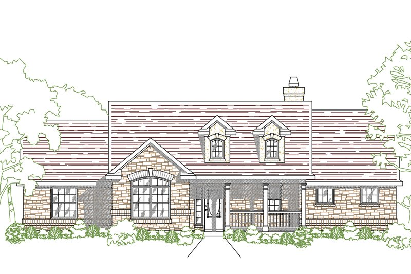 Country Exterior - Front Elevation Plan #80-203