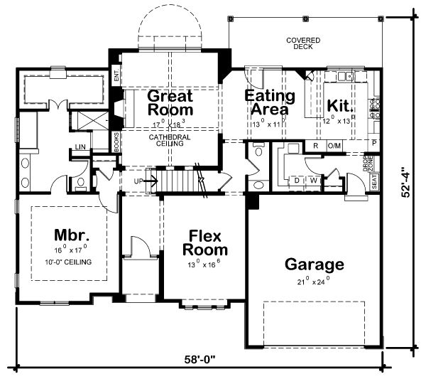 Craftsman Floor Plan - Main Floor Plan Plan #20-2146
