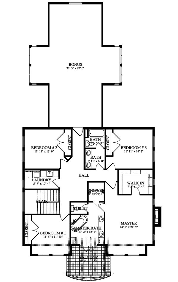 Farmhouse Floor Plan - Upper Floor Plan Plan #1060-44