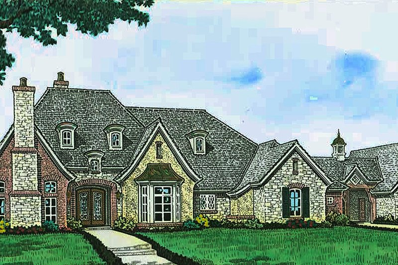 European Exterior - Front Elevation Plan #310-1296