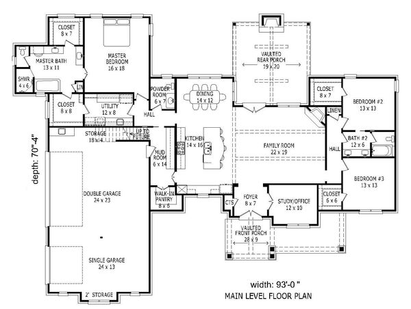 European Floor Plan - Main Floor Plan Plan #932-22