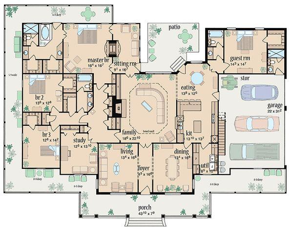Dream House Plan - Traditional Floor Plan - Main Floor Plan #36-234