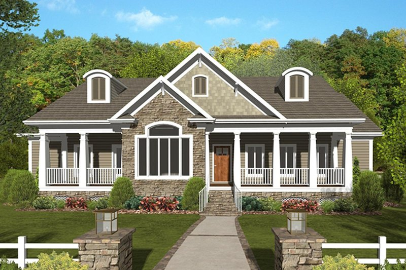 Craftsman Exterior - Front Elevation Plan #56-701