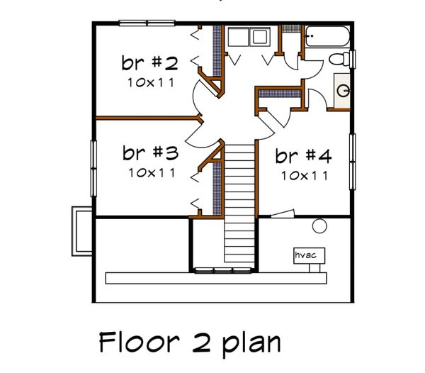 Bungalow Floor Plan - Upper Floor Plan Plan #79-204