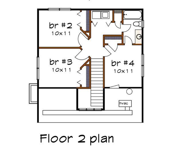 Architectural House Design - Bungalow Floor Plan - Upper Floor Plan #79-204