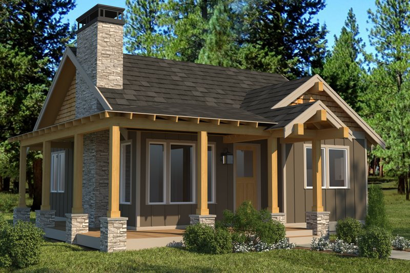 Cabin Style House Plan - 2 Beds 1 Baths 824 Sq/Ft Plan #895-91 Exterior - Front Elevation