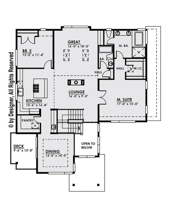 Contemporary Floor Plan - Upper Floor Plan Plan #1066-8