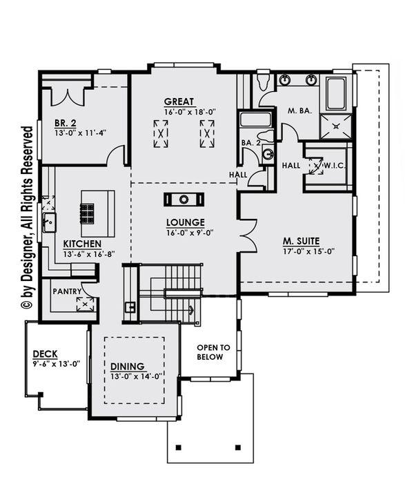 Architectural House Design - Contemporary Floor Plan - Upper Floor Plan #1066-8